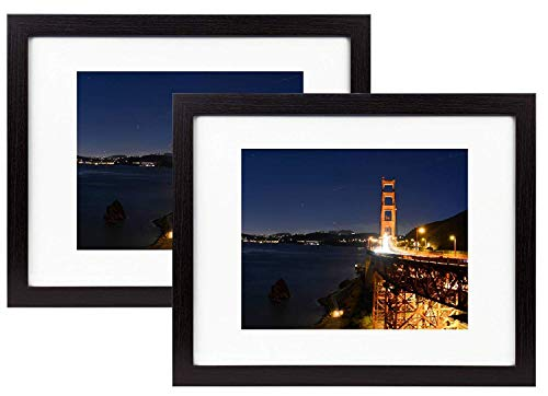 Frametory, 11x14 Black Wood Grain Finish Looking Photo Frame with Ivory Color Mat for 8x10 Picture & Real Glass (2, 11x14) (Grain Frame)