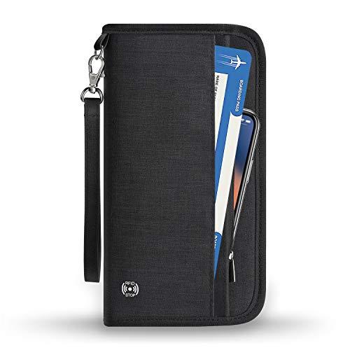 Vemingo Family Passport Holder RFID-Blocking Travel Wallet Ticket Holder Document Organizer with Zipper for Women & Men, Fits 5 Passports (Black, Large)