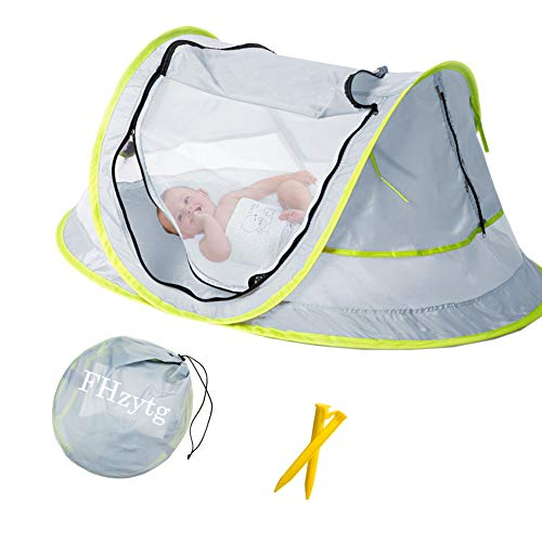Aiernuo Large Baby Beach Tent, Portable Baby Travel Tent UPF 50+ Infant Sun Shelters Pop Up Folding Travel Bed Mosquito Net Sunshade with 2 Pegs from FHzytg