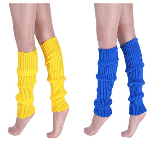 CHUNG Adult Women Juniors Knitted Leg Warmers Neon Party Accessory, 2pk Blue+Yellow