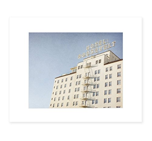 Retro Hollywood Wall Art, Los Angeles Landmark Picture of Roosevelt Hotel, 8x10 Matted Print, 'Night in - Frame Sky Angeles Los