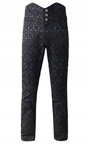 Men's Obscura Trousers Pants Steampunk Black Brocade Vintage Gothic Victorian (X-Large, Black)