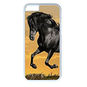 Hard Back Cover Case for iphone 6,Cool Fashion White PC Shell Skin for iphone 6 with Black Horse Running