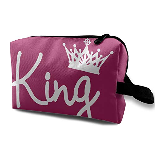 Danny Lopeze Skincare Portable Queen Crown Makeup Bag Travel Purse with Zipper for Women Skincare Cosmetic Pouch (Spring Bed For Box And Mattress Frames)