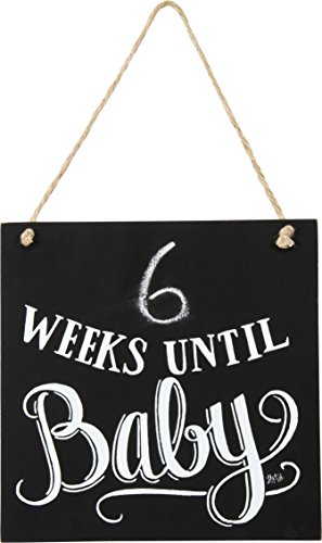 Primitives by Kathy Chalk Art Box Sign Weeks Until Baby
