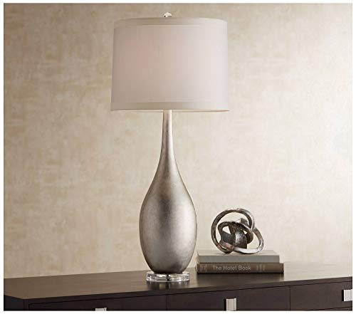 Modern Buffet Console Table Lamp Silver Leaf Vase Off White Drum Shade for Dining Room - Possini Euro Design