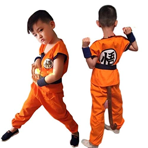 SSJ Dragonball Goku Style Costume 5-Piece Set [Satoru Mark Kids] Japanese Amime (S_43.3-47.2in, Orange) -