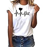 Women Short Sleeve T-Shirt Crewneck Heart Print Tee Casual Solid Tees Blouse Tunic Tops (S, White)