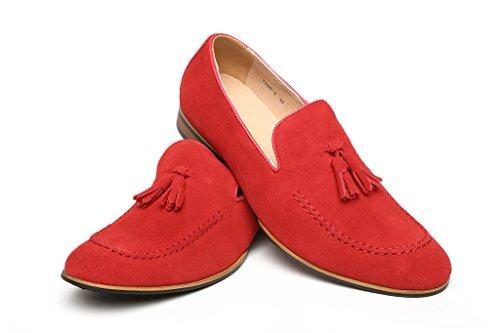 Hombre Gamuza Zapatos De Diseño Inteligentes Vestido Sin Cierres Borla Mocasines De Vestir Casual Size UK Rojo