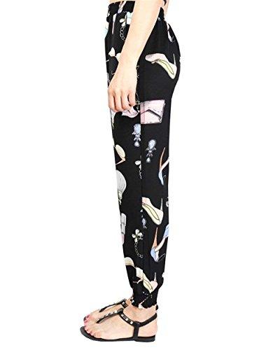 Donna Lanterna Giovane Vintage Harem High Libero Hippie Pantaloni Elastico Pantaloni Stampa Sciolto Pantaloni Colour Grazioso Eleganti Fashion Waist Fiore Di Pantaloni 13 Tempo Estivi Women Casual rqBtwr