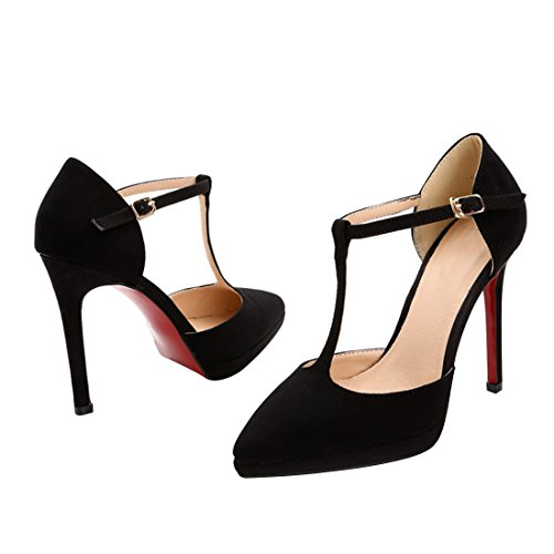 T nb Pumps Red Stiletto Women's strap Sandals Platform black Sole HooH Buckle Bqanw4H5Px
