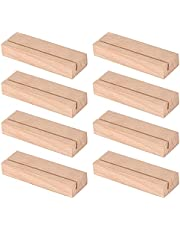 8 Pieces Wood Place Card Holders Wood Table Number Holder Stands Photo Picture Card Holders for Wedding Party Menu Table Decorations, 3.55 Inches Length