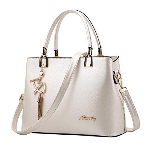 NXDA Casual Leather Zipper Handbags Shoulder Bag Crossbody Bag Messenger Bag For Women and Girls (White) by NXDA