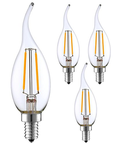 (SleekLighting 2 Watt E12 LED Filament Candelabra Dimmable Light Bulb, Warm White 2700K Chandelier Decorative Flame Tip, Clear Glass Cover (25W Incandescent Replacement) 4pack)