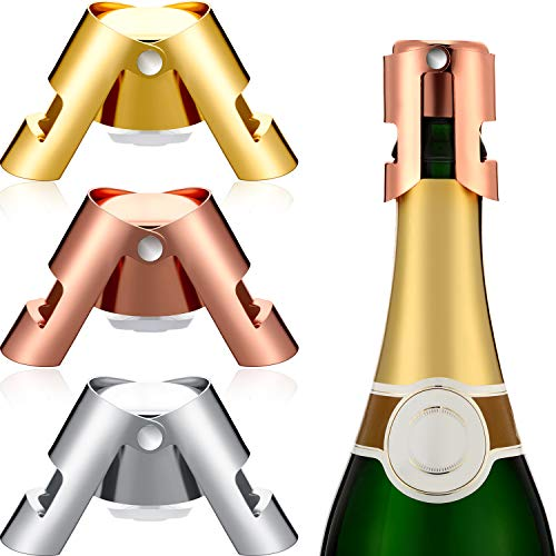 3 Pieces Champagne Bottle Stopper Stainless Steel Bottle Plug Vacuum Bottle Sealer for Champagne, Cava, Prosecco, Sparkling Wine