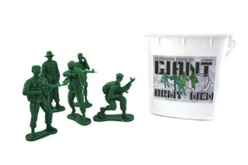 "Giant 4"" Army Men Action Figures WellPackBox Bucket Of 18 Big Toy Soldiers"