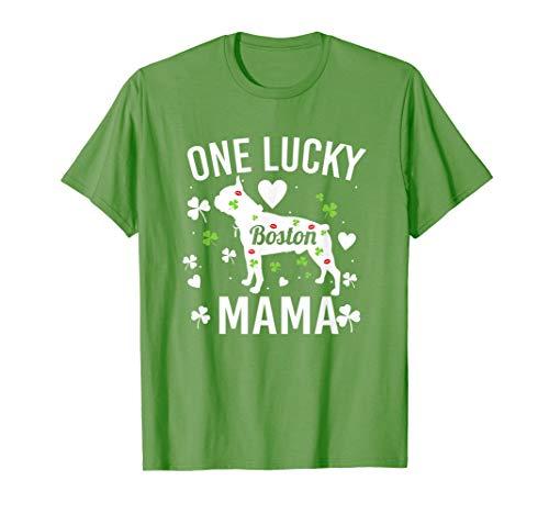 One Lucky Mama Mom St Patrick Day Boston Terrier Women Shirt