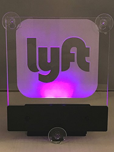 Lyft Logo Led Sign, Rideshare Led Sign,Car Sign with No Cord,(LED Pink) 3 suction cops