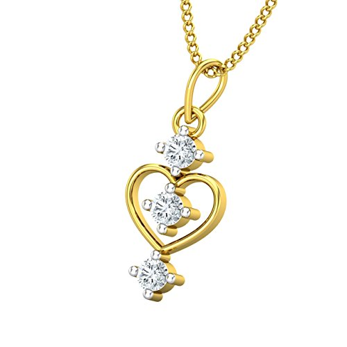 Jewel Hub 18KT Yellow Gold and Diamond Pendant for Women