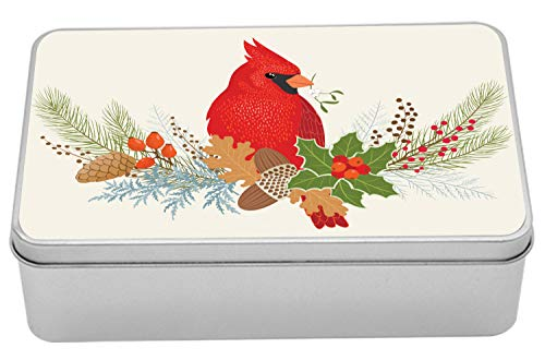 Lunarable Cardinal Metal Box, Floral Bouquet and Bird Ornamental Christmas Acorns Pine Cones and Holly Berries, Multi-Purpose Rectangular Tin Box Container with Lid, 7.2