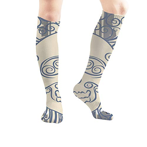 Caveira No Halloween (Dead Wing Skull Bright Graffiti Art Unisex Elastic Long Socks Compression Knee High Socks for Sports, Running, Travel 19.7)