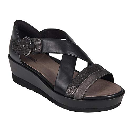 Earth Womens Hibiscus Black Multi Distressed Leather Sandal - 7 ()