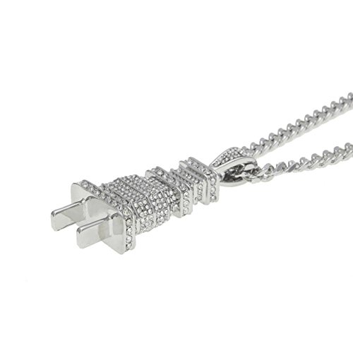 (Challyhope Novel Funny Necklace Fully Lced Out Diamond Bling Power Plug Pendant Hip Hop Cuban Chains For Mens Women (Silver, Alloy))