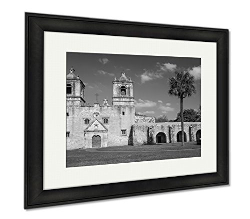 Ashley Framed Prints Clouds Roll Past The Old Spanish Mission Concepcion In San Antonio Texas, Wall Art Home Decoration, Black/White, 26x30 (frame size), Black Frame, AG6517567 by Ashley Framed Prints