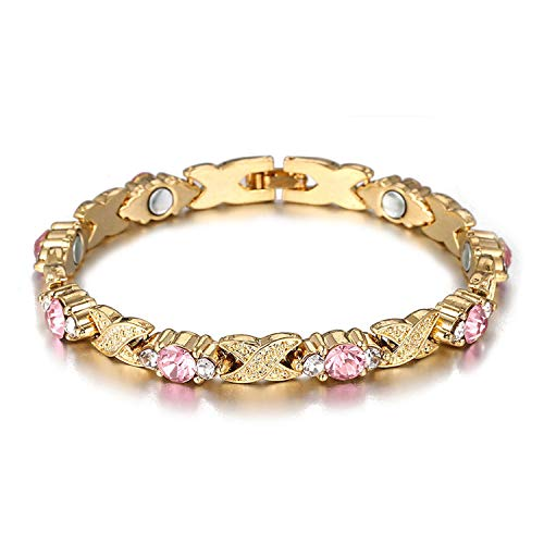 Tea language Gold Color Copper Alloy Magnetic Bracelets for Women Care Colorful Crystal Female Bracelets Christmas Jewelry,205mm