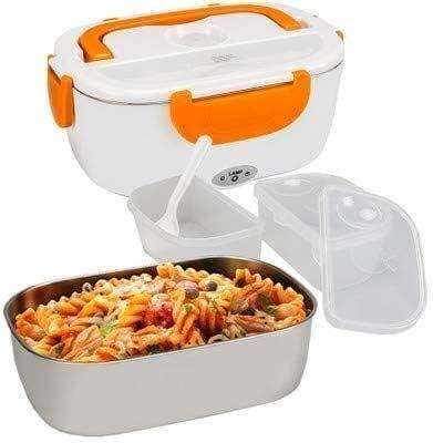 12V 110V / 220V draagbare elektrische verwarming RVS Lunch Box Huis for tweeërlei gebruik Rice Box Schotelwarmer eetservies rode plastic Liner AU dljyy