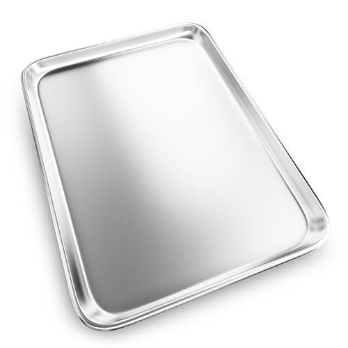 Baking Sheet with Cooling Rack - Aluminum Half Size Cookie Sheet 18 Inch x 13 Inch for Oven Use by Culinary Depot (Image #2)