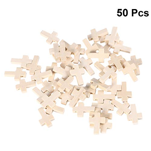 (Artibetter 50pcs Wood Cross Pendants Antique Cross Shaped Beads Dyed Natural Polished Wood Pieces for Crafts DIY Jewelry Necklace Bracelet Projects)