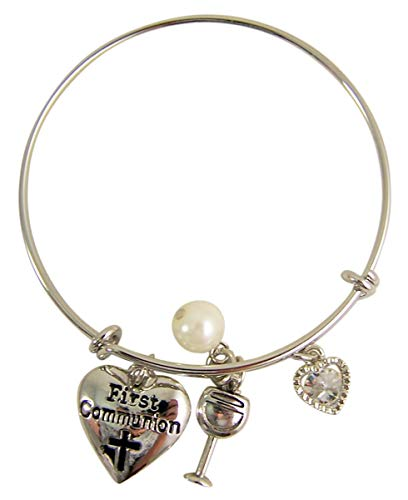 Silver-Toned Adjustable First Communion Bracelet with Heart, Pearl, Chalice, and Gem-Stone Heart Charms