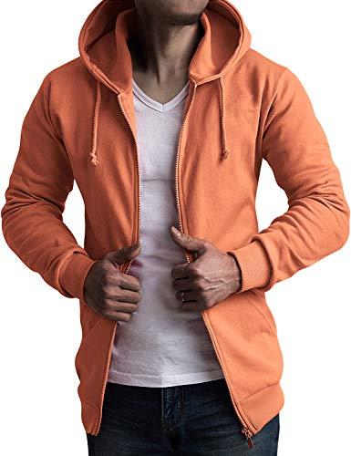 (CLOVERY Men's Active Running Jackets Zip Sweatshirt Top Hoodie Coral S)