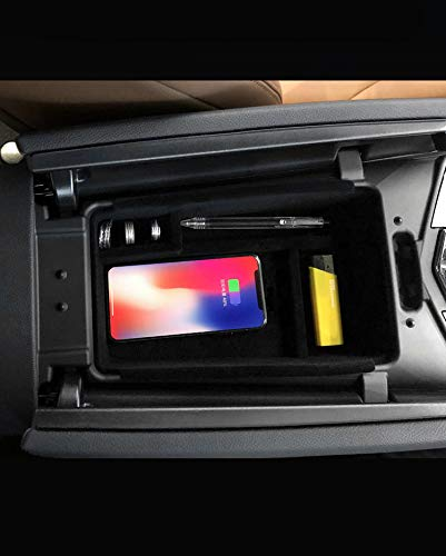 DeHasion QI Wireless Charger Phone Holder Car Armrest Storage Box Car Center Organizer for 2013-2018 Maserati Quattroporte Glove Armrest Storage Box Wireless Charging for iPhone X (Quattroporte)