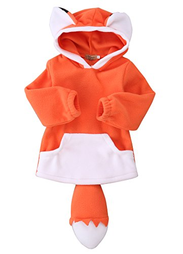 (Baby Kids Boys Girls Cute Fox Cloak Hooded Outfits Hoodie Coat Outwear Jacket (Orange, 3-4)