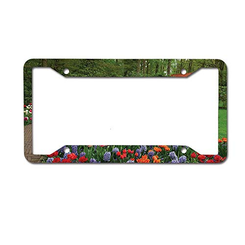 Jackie Prout ss Country Home A Spring Garden Forest Hut Small Bridge Plants Flowerbeds Walkway Green Purple License Plate Frame Aluminum Car Tag for US Canada Vehicles 4 Holes and - Hut Beer