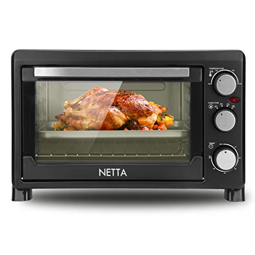 NETTA 23L Electric Mini Oven and Grill, with Multiple Cooking Functions, Adjustable Temperature Control and Timer – Accessories Included – Black 1500W