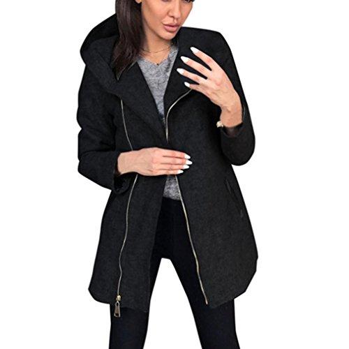 QinMM Invierno con Mujer De SóLida Invierno De Capucha Cremallera Chaqueta OtoñO Abrigo Negro Parka Outwear rxHtq8rpw