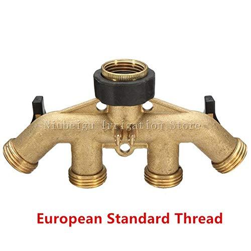 Kammas 2pcs/Pack 4 Way Brass Tap Adaptor Outlet Hose Valve Manifold Hose Splitter Tap Adaptors Washers Hose End Fittings Watering D110 - (Diameter: 2pcs, Color: European Thread) by Kamas