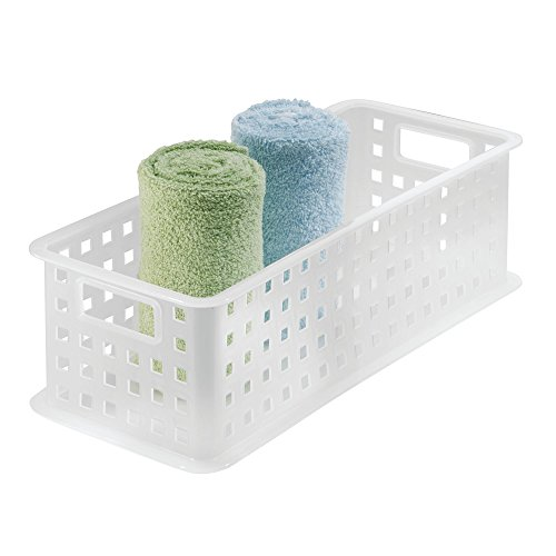 - InterDesign Plastic Storage Basket, Organizer Bin with Handles for Bathroom, Health, Cosmetics, Hair Supplies and Beauty Products, Dorm, 16.5