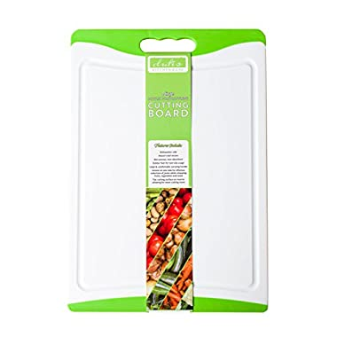Dishwasher Safe Large Plastic Cutting Board With Non-Slip Silicone Edges and Deep Drip Juice Groove. Acrylic Polypropylene White With Lime Green a Beautiful Cutting Board by Dutis Kitchenware