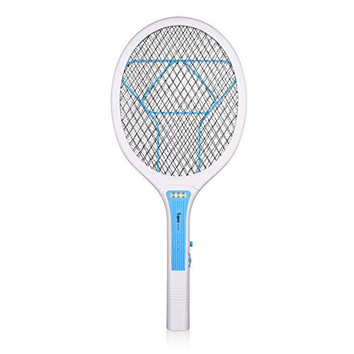 Electric Bug Swatter (Trapro Bug Zapper Racket Electric Fly Swatter Mosquito Killer, USB Charging / 3000 Volt / Ultra-Bright LED / Unique 3-Layer Safety Mesh)