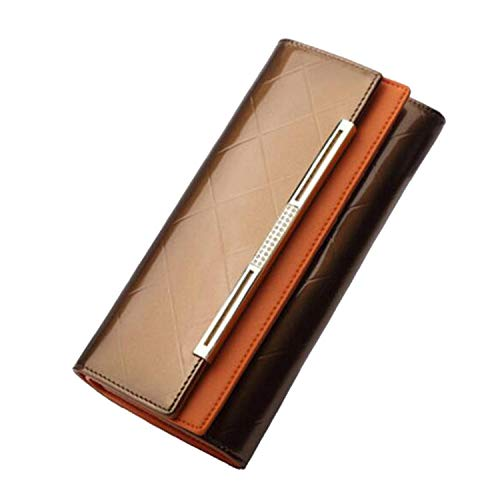 (Women's Wallets Women Cowhide Leather Wallet Ladies Party Clutch Leather Purses Long Card Holder,Chocolate)
