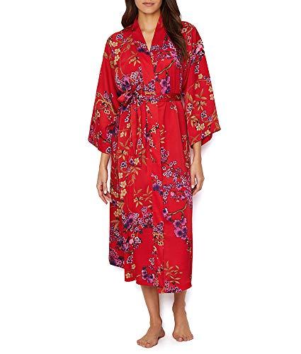 N Natori Eden Satin Robe, S, Red Floral