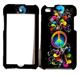 Rainbow Wave Peace Sign on Black Rubberized Snap on Cover Case for Apple Ipod Touch 4 4th
