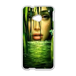 HTC One M7 Cell Phone Case White girl drawing L4W1BF