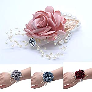 loveinfinite Wedding Supplies Bride Fashion Wrist Flower Cloth Beautiful Elegant Hand Decor Dance Pearl Artificial Bracelet Bridemaid 61