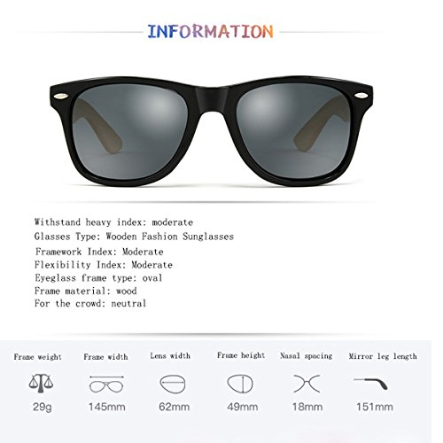 Color de Madera A bambú Madera de Gafas Unisex Retro Gafas Sol de Mujer de Clásica B de con óptica Gafas Caja polarizadas Gafas Hombres Lentes de UV400 qYwFFSO