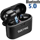 Wireless Earbuds, SeeYing S9 Bluetooth 5.0 True Wireless Earbuds Bluetooth Headphones with 24H Playtime, Charging Case, Build-in Mic, Hi-Fi Stereo Sound, Noise Cancelling, Sweatproof (Black)